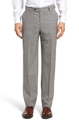 Berle Men's Flat Front Houndstooth Wool Trousers