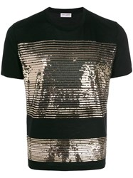 Saint Laurent Sequin Striped T Shirt Black