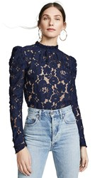 Wayf Emma Puff Sleeve Lace Top Navy Lace