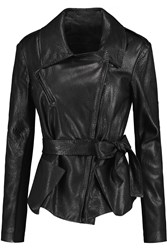 Donna Karan Jersey Paneled Leather Biker Jacket Black