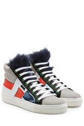 Karl Lagerfeld Leather High Tops With Faux Fur Multicolor