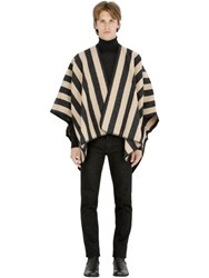 La Mericaine Striped Felted Wool Blend Cape