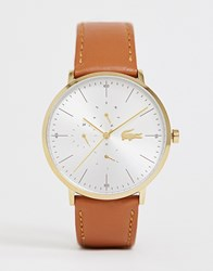 Lacoste Moon Leather Watch In Brown