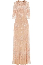Biyan Innete Embellished Point D'esprit Tulle Maxi Dress Pastel Pink