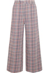Joseph Ferrandi Checked Cotton Tweed Wide Leg Pants Blue