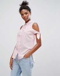 Only Tie Sleeve Stripe Shirt Tunic Cloud Dancer Pink