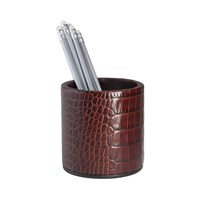Graphic Image Round Leather Pencil Cup Brown Crocodile