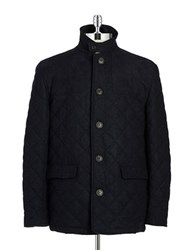 Hart Schaffner Marx Quilted Wool Coat Navy