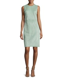 Adam By Adam Lippes Sleeveless Suede Fitted Dress Green Green Pattern