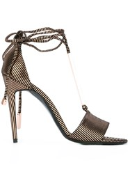 Pierre Hardy Lace Up Sandals Metallic