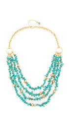 Sam Edelman Layered Nugget Necklace Turquoise Gold