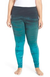 Plus Size Women's Hard Tail Roll Waist Tie Dye Leggings Gray Green Blue