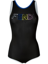 Fendi Logo Swimsuit Black