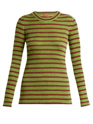 Missoni Striped Long Sleeved Knit Top Green