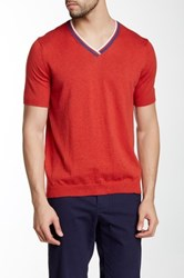 C 89 Men V Neck Ribbed Tee Red