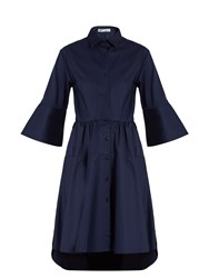 Palmer Harding Flounce Sleeve Cotton Shirtdress Navy