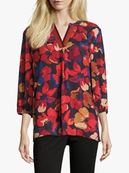 Betty Barclay Floral Print Tunic Top Red Dark Blue