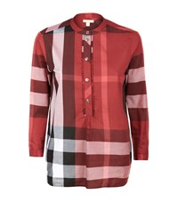 Burberry House Check Half Buttoned Smock Top Female Red