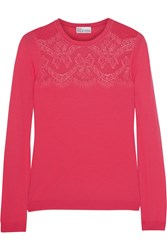 Red Valentino Lace Paneled Fine Knit Wool Top Pink