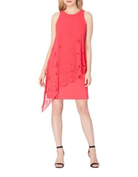 Tahari By Arthur S. Levine Plus Draped Chiffon Dress Rose