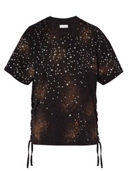 Faith Connexion Oversized Star Print Lace Up Cotton T Shirt Black