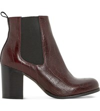 Dune Prynn Crocodile Embossed Leather Chelsea Boots Burgundy Reptile
