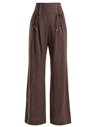 Zimmermann Painted Heart Wide Leg Lace Up Linen Trousers Charcoal