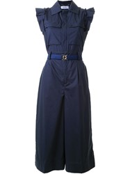 Muveil Ruffled Button Down Jumpsuit Blue