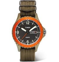 Timex Navi Land Stainless Steel And Nylon Webbing Watch Green