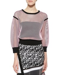 Ohne Titel Solid Trim Reversible Mesh Pullover Pink Black