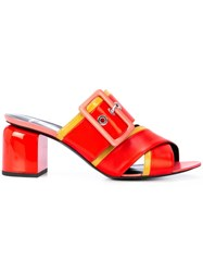Pierre Hardy Buckled Mules Red
