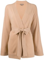 N.Peal Rib Edge Belted Cardigan Neutrals
