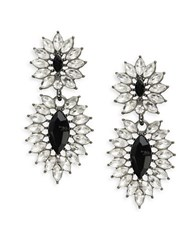 Robert Rose Gem Double Drop Earrings Black