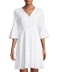 Cynthia Steffe 3 4 Bell Sleeve Eyelet A Line Dress White