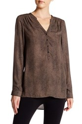Angie Long Sleeve Henley Blouse Brown