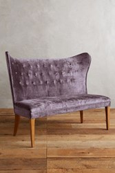 Anthropologie Slub Velvet Wingback Bench Armless Amethyst
