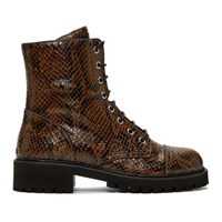 Giuseppe Zanotti Brown Snake Embossed Lace Up Combat Boots