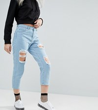 Noisy May Petite Liv Extreme Rip Straight Leg Jeans Blue
