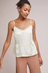 Anthropologie Laing Gathered Silk Lace Cami Ivory