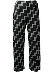Issey Miyake Pleats Please By Printed Pleated Cropped Trousers Black