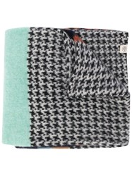 Mulberry Brushed Houndstooth Scarf Brown