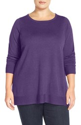 Plus Size Women's Eileen Fisher Ballet Neck Boxy Merino Jersey Sweater African Violet