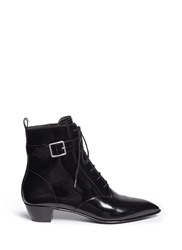 Marc By Marc Jacobs Ankle Strap Leather Lace Up Combat Boots Black