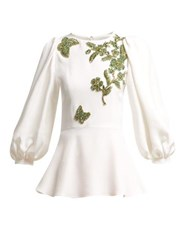 Andrew Gn Embellished Balloon Sleeve Crepe Blouse White Multi