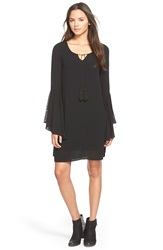 Fire Lacy Bell Sleeve Shift Dress Black