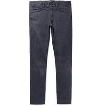 Hugo Boss Delaware Slim Fit Stretch Cotton Twill Trousers Navy