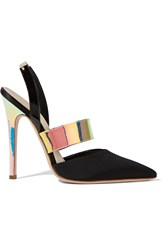 Giambattista Valli Faille And Patent Leather Slingback Pumps Black