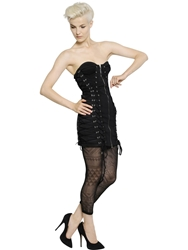Jean Paul Gaultier Lace Up Cotton Lace Bustier Dress Black