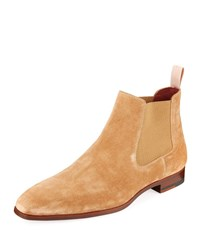Magnanni Men's Suede Low Gored Chelsea Boots Light Brown
