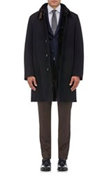 Gimos Men's Wool Cashmere Shearling Lined Coat Black